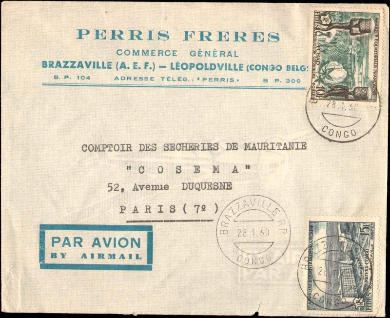 1960 FRENCH EQUATORIAL AFRICA BELGIUM CONGO MULTI STAMP TO FRANCE