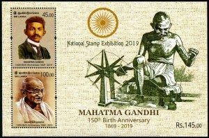 HERRICKSTAMP NEW ISSUES SRI LANKA Gandhi S/S Nat'l Stamp Exhibition Ovpt.