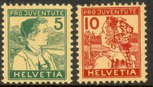 SWITZERLAND 1915 PRO JUVENTUTE Semi Postal Set Sc B2-B3 Key Stamp VLH