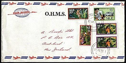 NIUE 1977 cover to New Zealand - nice franking............................95586W
