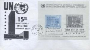 UN #85 4c & 8c 15TH ANNIVERSARY SS - CC-Boll black