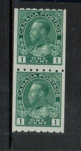 Canada #123 Mint Fine Original Gum Hinged Coil Pair