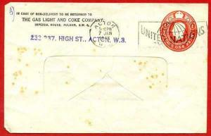 ES61 KGVI 1d Carmine Gas Light and Coke Stamped to Order Envelope used
