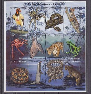 Nicaragua, New item. Fauna as Bats, Snakes & Spiders sheet of 12. ^