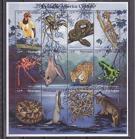 Nicaragua, Scott cat. 2206 a-i. Fauna as Bats, Snakes & Spiders sheet of 12. ^