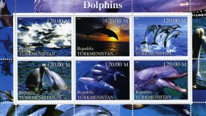 Turkmenistan 2000 DOLPHINS Sheet Perforated Mint (NH)