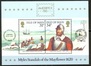Isle of Man #311a MNH S/S CV$2.75 AMERIPEX Mayflower Myles Standish Ship