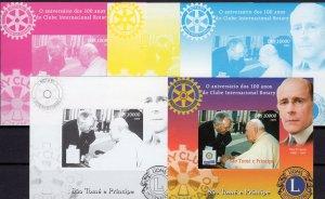 Sao Tome and Principe 2005 Pope John-Paul II/Rotary-Lions Club SS Color Proofs
