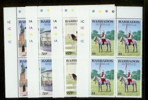 BARBADOS Sc#670-673 Complete Mint Never Hinged PLATE BLOCK Set