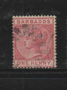 BARBADOS #61  1882  1p   QUEEN VICTORIA    F-VF  USED   f