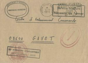 France Military Free Mail 1972 59998 Lille Armees Code Postal Mot de Passe de...
