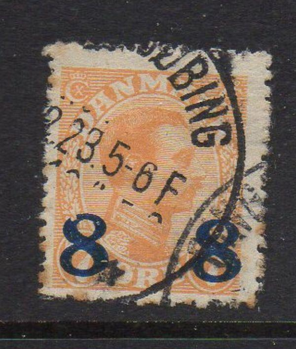 Denmark Sc 161 1922 8 ore ovpt on 7 Christian X ore stamp used