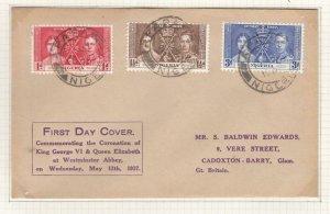 NIGERIA 1st DAY COVER 1937 CORONATION SON CANCELS TO GB