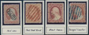 #26 (4) DIFFERENT USED WITH FANCY CANCELS BQ9469