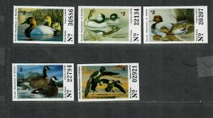 Nevada Sc#6-10 M/NH/VF, State Duck Stamps, Cv. $74.50