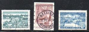 Finland Sc 285-87 1949 Town Anniversaries stamp set used