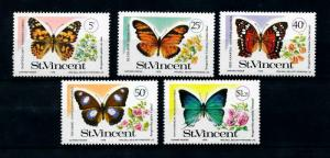 St. Vincent MNH 223-7 Butterflies Insects 1978