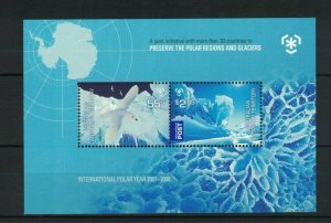 AAT53) Australian Antarctic Territory 2009 Poles & Glaciers Minisheet MUH