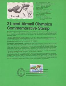 REDUCED!! 1979 OLYMPICS COMMEMORATIVE AIRMAIL FDC SOUVENIR PAGE
