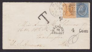 Italy Sc 28, 36 on 1878 Postage Due Cover to Washington, DC, Carrier handstamp