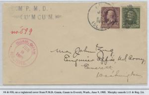GUAM #3 & 10 ON REGISTERED COVER JUNE 9,1905 CV $1,350 BS8439 HS108G