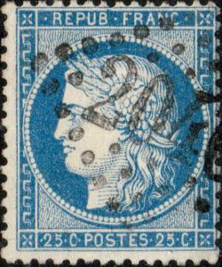 FRANCE - Yv.60A 25c (T.1) planché 131G3 - GC204? (prob. 2046 Lille) - TB