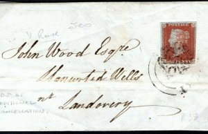 GB Wales Cover CDS Additional Cancel Llandovery MX 1d Red 1844 MC132a