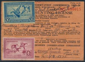 #RW1 & #RW2 ATTACHED ON WISCONSIN HUNTING LICENSE BT7524