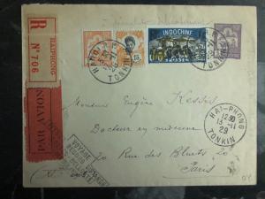 1929 Haiphong Vietnam First Flight Cover Paris France Bellonte Costes 500 flown