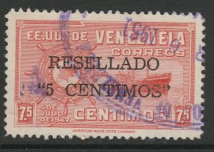 Venezuela 1952 surch 5c on 7 1/2c used South America A4P53F71