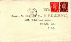 London UK > Chicago IL 1940 Dig for Victory cancel WWII cover