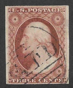 Doyle's_Stamps: 1855 Type I Imperf 3c Washington Issue Scott #11 w/Boston PAID