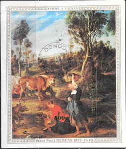 Peoples Republic of Congo #437   500f  Rubens Paintings S/S (UFDC) CV $1.40