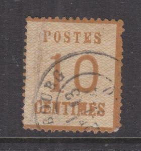 ALSACE & LORRAINE, 1870 Network upwards, 10c. Brown, used, small thin.