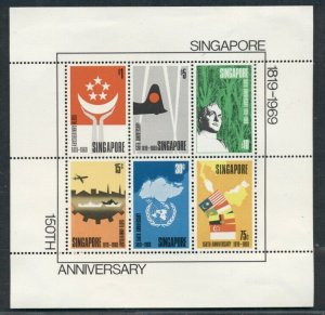 SINGAPORE #106a, Anniversary Souv. sheet, LH top margin only, scarce Scott $600