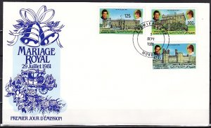 Comoro Is., Scott cat. 522-524. Royal Wedding issue. First day cover. ^