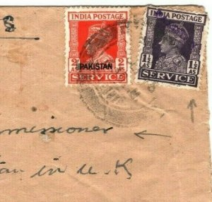 PAKISTAN Official Cover India 1948 LOCAL OVERPRINT *Ministry of Finance* MA544