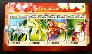 *FREE SHIP Sao Tome Orchids 2016 Flower Flora Plant (ms) MNH