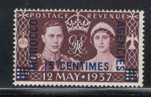 Great Britain Offices Morocco 1937 Coronation Surcharge 15c  Scott # 439 MH