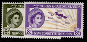 TURKS & CAICOS ISLANDS QEII SG251-252, complete set, NH MINT.