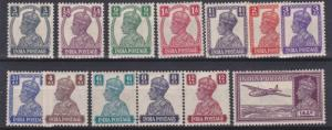 INDIA  1940 - 43     S G  265 - 277    SET OF 14  LESS 1A 3P     MH