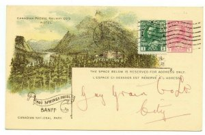 1916 CPR PERFIN uprated postal stationery illustrated BanffHotSprings post card