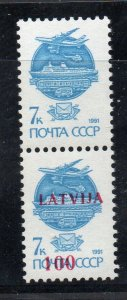 Latvia Sc 308a 1991 Latvija overprint one missing stamp pair mint NH