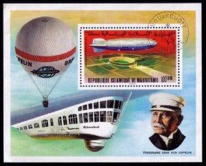 Mauritania - 1976 - Ferdinand Graf Von Zeppelin  Anniversary Aviation Sheet Used