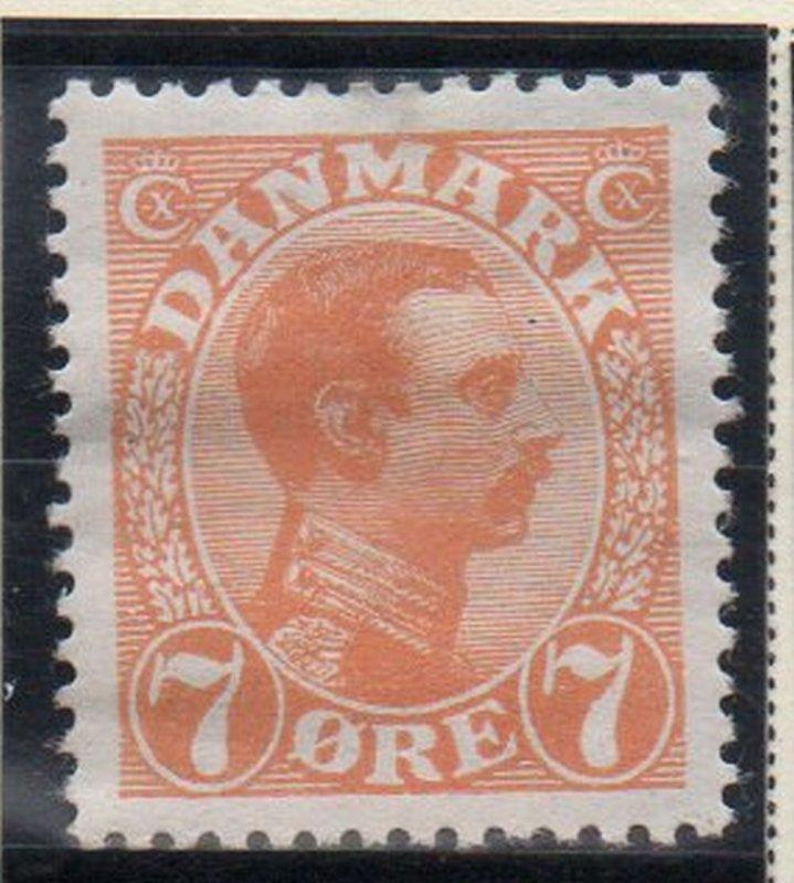 Denmark Sc 98 1918 7 ore orange Christian X  stamp mint