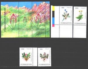 Uzbekistan. 2011. 923-26, bl59. Flowers flora. MNH.