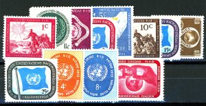 UNITED NATIONS #1-9, 63-64, 106 MINT OG NH