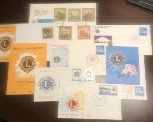 Lot of 6 LIONS CLUB - Worldwide First Day Covers FDC - Japan Monaco Belgium