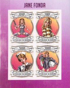 Burundi MNH S/S Jane Fonda Actress 2013 4 Stamps