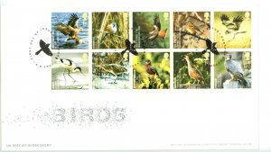 Great Britain 2007 FDC Birds UK Species in Recovery  Sc# 2507a se tenant bloc...